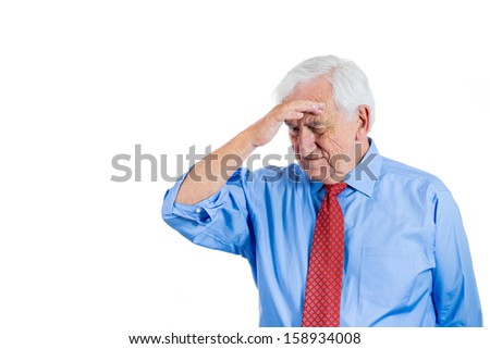 Closeup portrait of senior elderly mature man, old sad businessman with white hair, troubled and in deep thought, isolated on white background with copy space. Human emotions and facial expressions - stock photo