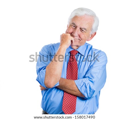 Closeup portrait of senior elderly mature man with a smile on face trying to remember something in deep thought, good memories of the past, daydreaming, isolated on white background. Human emotions - stock photo