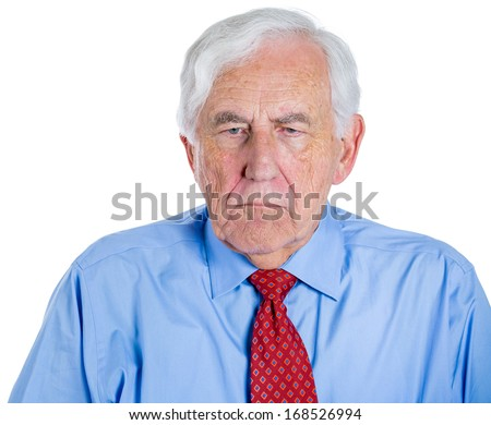 Closeup portrait of senior mature, elderly man, grandfather,pensioner very sad and depressed almost to the point of crying, thinking about something, isolated on white background  - stock photo