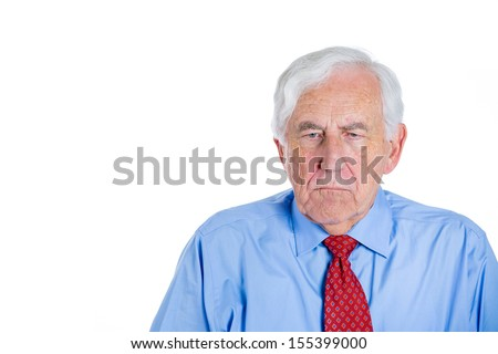 Closeup portrait of senior mature, elderly man, grandfather,pensioner very sad and depressed and almost to the point of crying, thinking about something, isolated on white background with copy space. - stock photo