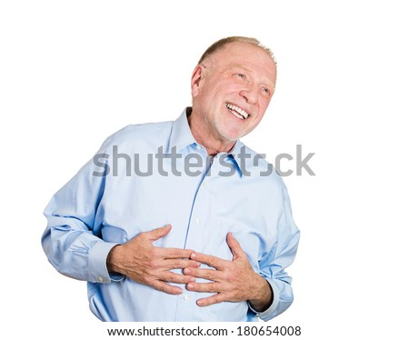 Closeup portrait of senior mature, mirthful business man, employee, doubled over laughing, isolated on white background. Positive human emotions facial expressions, feelings, attitude perception - stock photo