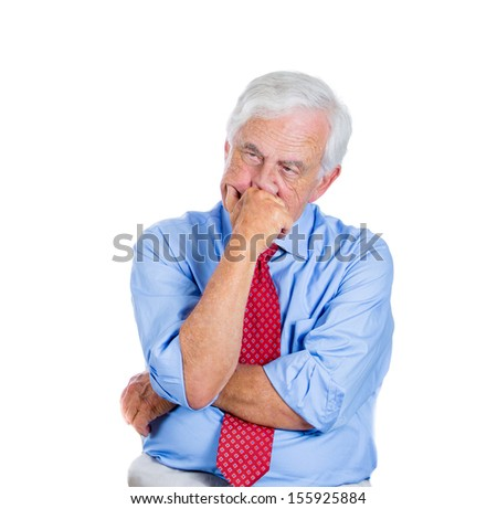 Closeup portrait of senior mature, unhappy elderly man very sad in deep thought thinking of something that worries him, isolated on white background. Human emotions. Face expressions. - stock photo