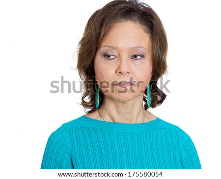 Closeup portrait of senior mature woman looking to side unhappy ashamed confronted with awkward situation, isolated on white background. Negative emotion facial expression feelings, attitude, reaction - stock photo