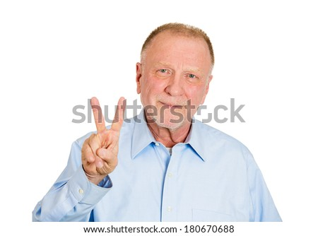 Closeup portrait of senior, smiling business man, holding up peace, victory, two sign, isolated on white background. Positive emotion, facial expressions, symbols, attitude communication. Life success - stock photo