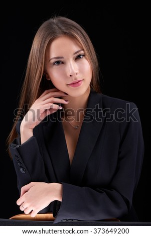 Closeup portrait of sensual beauty woman posing in black jacket  - stock photo