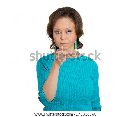 Closeup portrait of serious mad angry pissed off  woman pointing with index finger at you placing blame and accusation, isolated on white background. Negative emotion facial expression feelings - stock photo