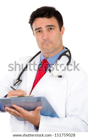 Closeup portrait of serious male doctor or healthcare professional or nurse wearing red tie and stethoscope writing on clipboard, isolated on white background with copy space - stock photo
