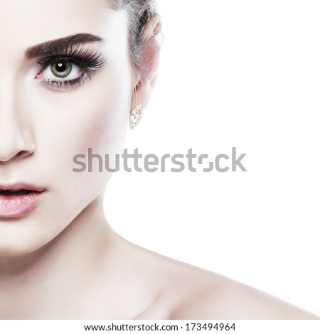 Closeup portrait of sexy whiteheaded young woman, emotions, cosmetics, isolated on a white background - stock photo