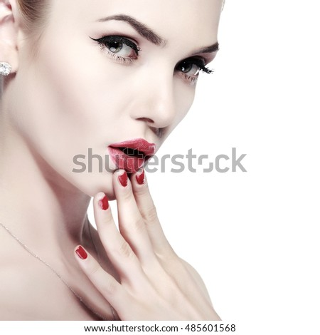 Closeup portrait of sexy whiteheaded young woman with beautiful red lips on white background