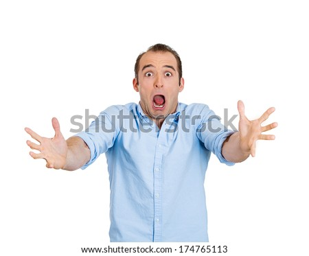 Closeup portrait of shocked, scared, frustrated business man, student, customer, screaming guy, funny looking person, isolated on white background. Human face expressions, emotions, attitude, reaction