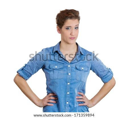 Closeup portrait of skeptical young woman looking suspicious and some disgust on her face, mixed with disapproval, isolated on white background. Negative human emotion, facial expressions, feelings - stock photo