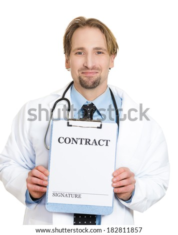 Closeup portrait of smiling health care professional with stethoscope and black tie, holding a contract sign and a place for signature, isolated on white background. Medical ethics