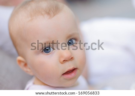 closeup portrait of smiling little girl