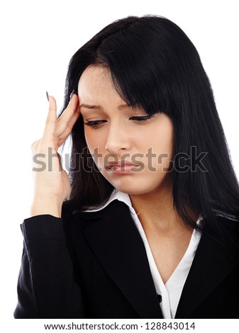 Closeup portrait of stressed businesswoman having a migraine. Isolated on white background