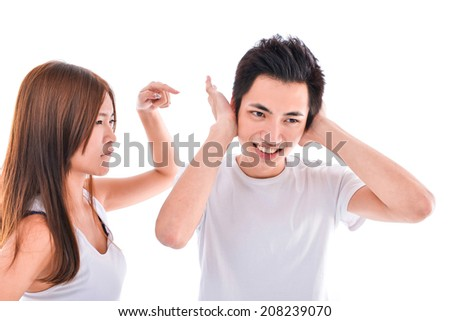 Closeup portrait of stressed couple going through hard times in relationship - stock photo