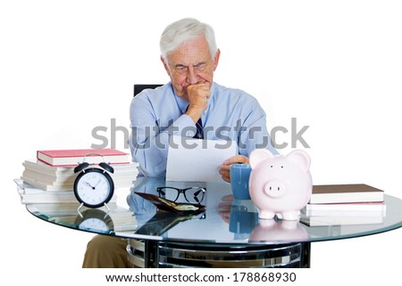 Closeup portrait of stressed, overwhelmed, sad elderly business man, old accountant, broker bank worker troubled by budget numbers, unhappy with contract, thinking worried isolated on white background - stock photo