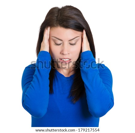 Closeup portrait of stressed sad young housewife, woman, employee, worker, student having migraine, tension headache, isolated on white background. Human face expressions, emotions, reaction, attitude - stock photo
