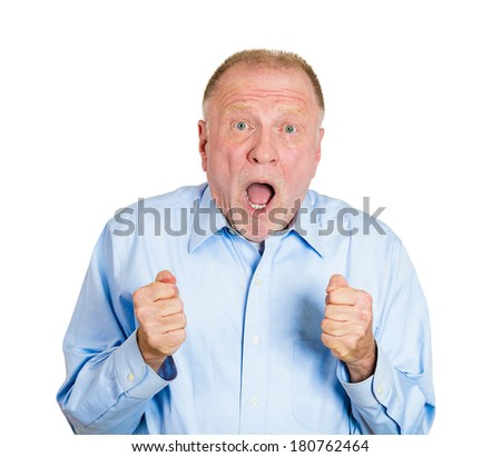 Closeup portrait of super excited old man looking forward, expecting something big special happen to him, isolated on white background. Positive human emotion facial expression feelings, body language - stock photo