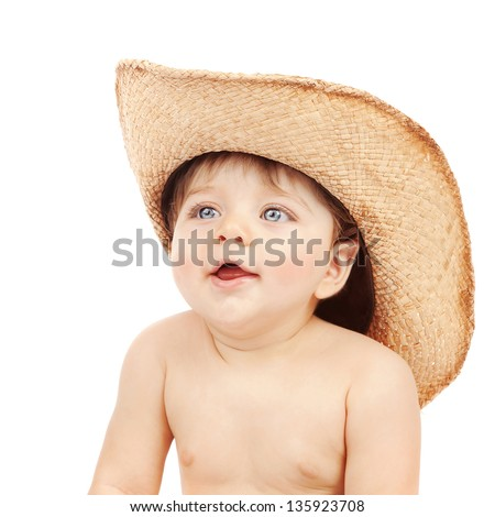 Closeup portrait of sweet little boy wearing stetson isolated on white background, fun and happiness concept - stock photo