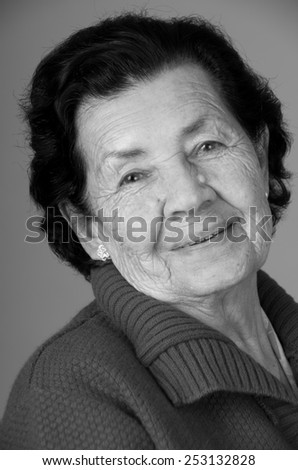 closeup portrait of sweet loving happy grandmother