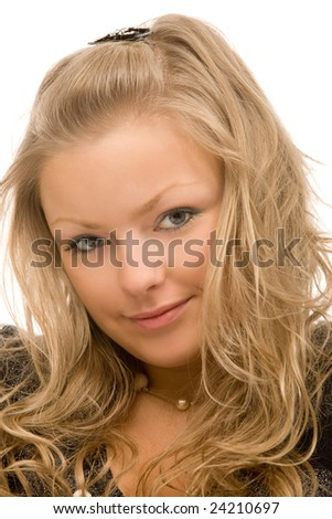 closeup portrait of the beautiful blond woman