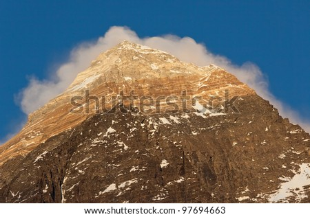 Closeup portrait of the Mount Everest (the highest peak in the world 8848 m) at sunset - Nepal, Himalayas