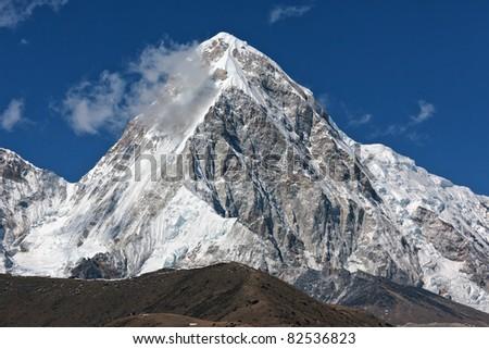 Closeup portrait of the peak Pumo Ri - Nepal - stock photo