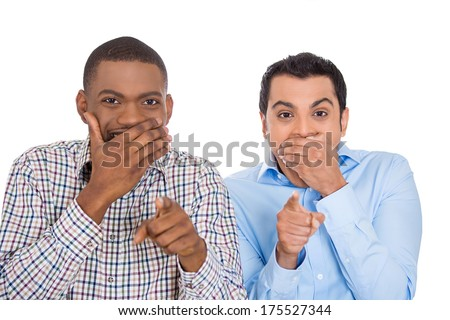 Closeup portrait of two excited happy men pointing at you laughing at someone or something, isolated on white background. Negative emotion facial expression feelings, reaction,  - stock photo