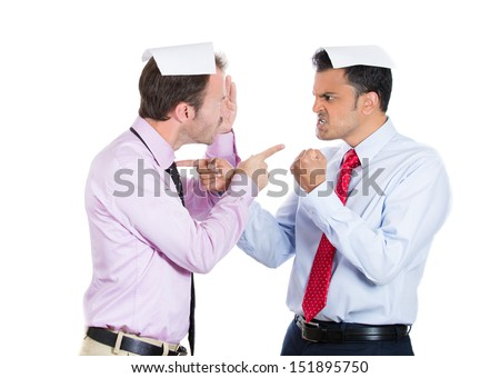 Closeup portrait of two guys, businessman, a boss and employee, angry pointing fingers at each other and blaming for problems, related to contract, budget, isolated on white background. Human emotions - stock photo