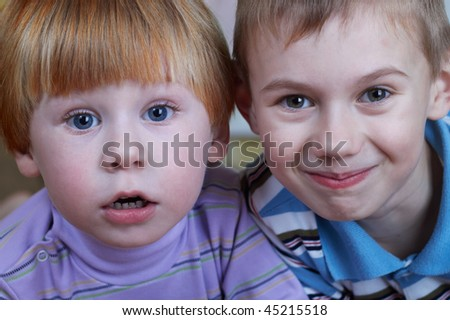 closeup portrait of two little boys