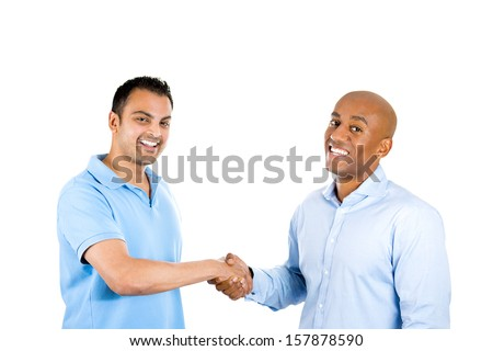 Closeup portrait of two men shaking hands, after a conflict resolution, and finding a solution to a problem, isolated on white background with copy space. Human emotions and facial expressions. - stock photo