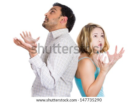 Closeup portrait of two people, couple woman and man, back to back, very sad, disappointed with each other, isolated on white background. Marriage, relationship problems. Negative emotions - stock photo