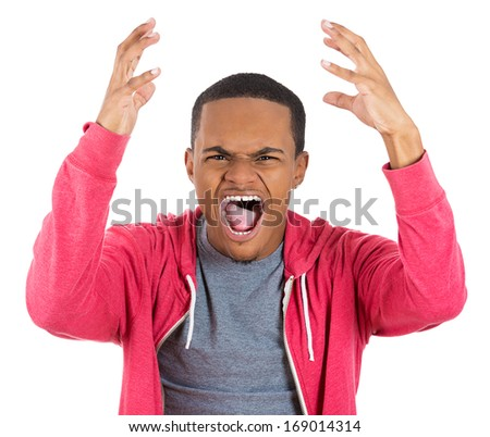 Closeup portrait of upset angry man in red hoodie with hand raised open mouth yelling, isolated on white background. Negative emotion facial expression feelings. Conflict problems and issues - stock photo