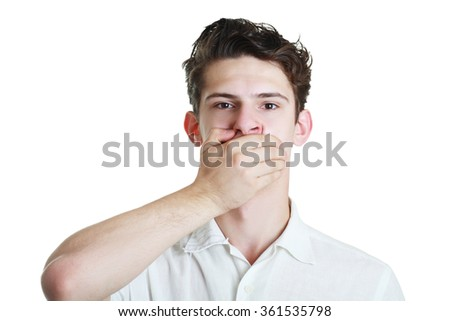 Closeup portrait of white man with hand over his mouth, stunned and speechless, isolated on white background - stock photo