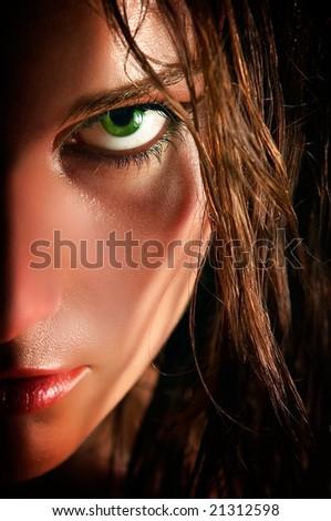 closeup portrait of wild girl - stock photo