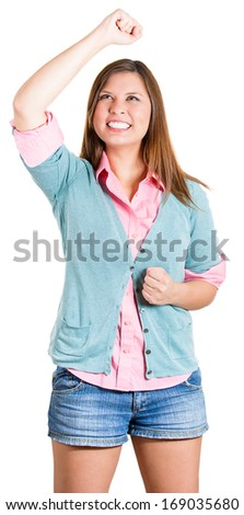 Closeup portrait of winning successful young woman, happy ecstatic celebrating being a winner, isolated on white background. Positive human emotions, facial expressions. Life achievement concept
