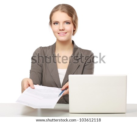 Closeup portrait of woman sitting at the desk isolated on white background - stock photo