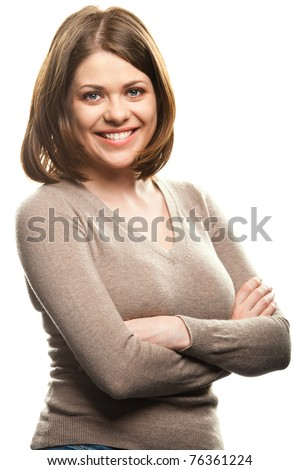 Closeup portrait of yong woman casual portrait in positive view, big smile, beautiful model posing in studio over white background . Isolated on white. - stock photo