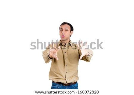 Closeup portrait of young, angry man gesturing no with hands and saying no with his mouth, isolate on white background copy space - stock photo