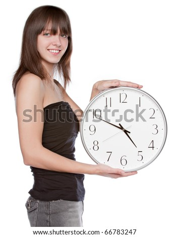 Closeup portrait of young beautiful woman with clock