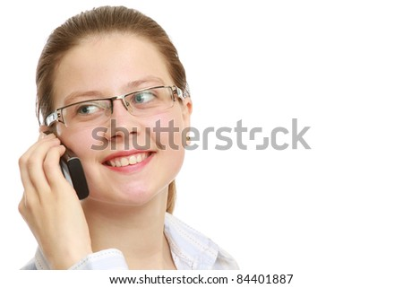 Closeup portrait of young business woman using mobile phone on white background. Lots of copyspace