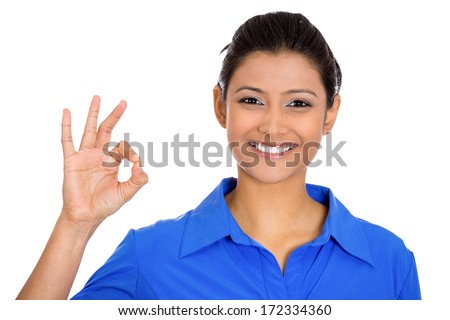 Closeup portrait of young  happy, smiling excited beautiful natural woman giving OK sign with fingers, isolated on white background. Positive emotion facial expressions symbols, feelings attitude - stock photo