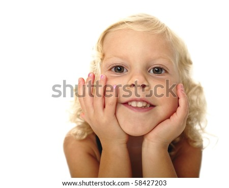 closeup portrait of young little caucasian girl on white