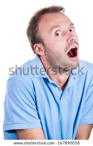Closeup portrait of young, lost, stressed, going nuts, looking crazy, desperate man, going insane, loosing his mind, isolated on white background. Human emotions extremes, loneliness, mental health. - stock photo