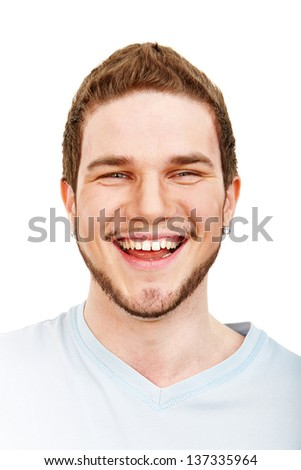Closeup portrait of young male expressing his feeling