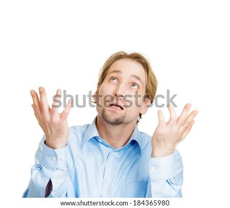 Closeup portrait of young man, open mouth, praying looking up hoping for best asking for forgiveness, miracle isolated white background. Human emotions, facial expressions, feelings, reaction - stock photo