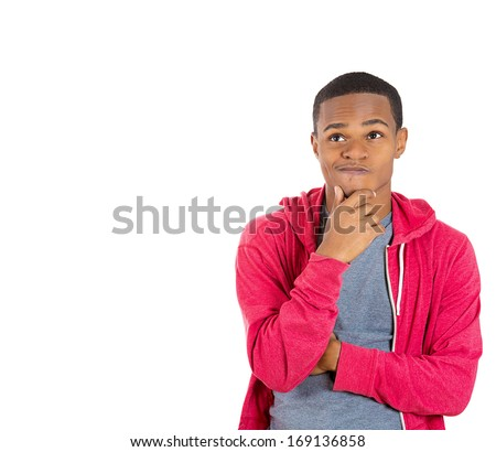 Closeup portrait of young man thinking daydreaming deeply about something chin resting on hands, looking upwards, isolated on white background. Negative emotion facial expression feeling - stock photo