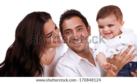 Closeup portrait of young parents carrying sweet little child isolated on white background, happy arabic family, love concept - stock photo