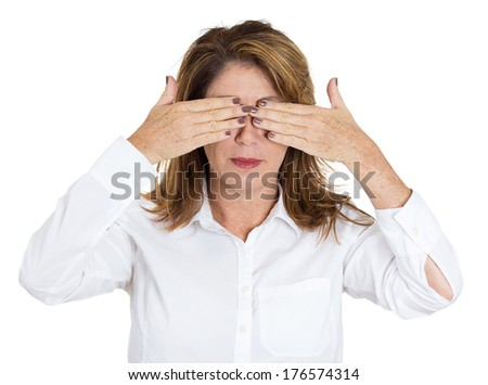 Closeup portrait of young pretty woman, closing, covering eyes with hands can't look, hiding, avoiding situation, isolated on white background. See no evil concept. Human emotions, facial expressions - stock photo