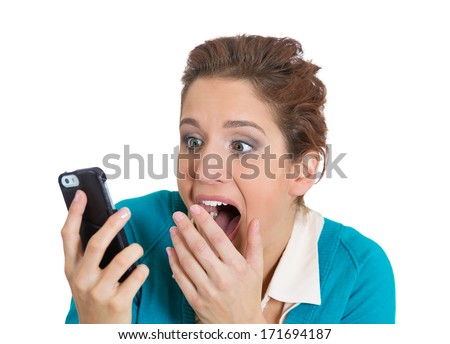Closeup portrait of young, shocked business woman, corporate employee, student talking on cell phone seeing bad text message, email, isolated on white background. Negative emotions, facial expressions